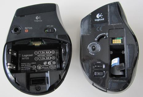 M705は電池2個、VX-Rは1個